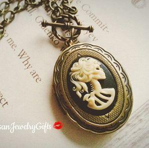 Lolita Bones Lady Skeleton Cameo Locket Necklace